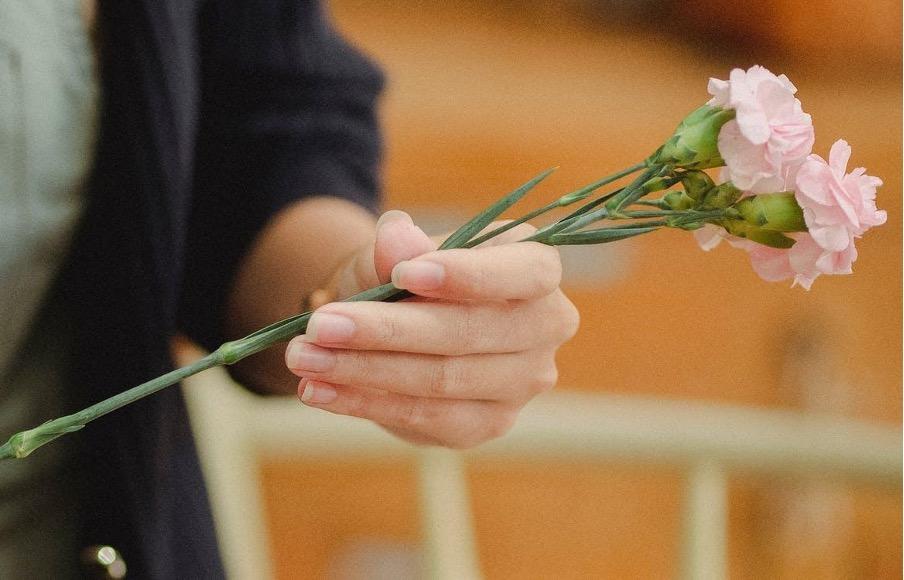 真空吸引術&擴張刮搔術的進行流程配圖:手拿兩隻花